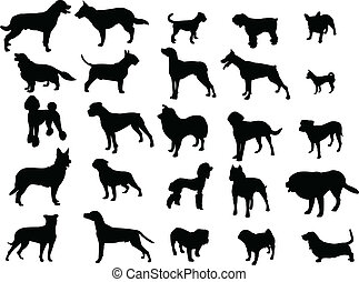 Collection of dogs silhouette - vector