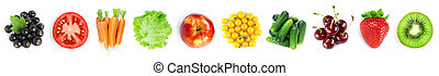 Collection of fruits and vegetables on white background. Top view
