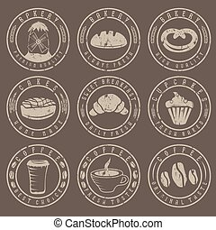 Collection of grunge vintage retro bakery and coffee labels