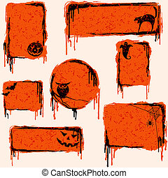 7 orange, grungy banners and buttons with a halloween theme. Graphics are grouped and in several layers for easy editing. The file can be scaled to any size.