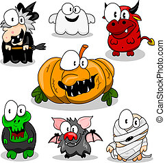 The collection of cartoon halloween creatures (witch, ghost, devil, pumpkin, zombie, vampire bat, mummy).