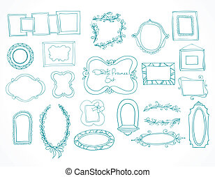 Collection of hand drawn doodle frames and design elements for decoration with place for text isolated vector illustration