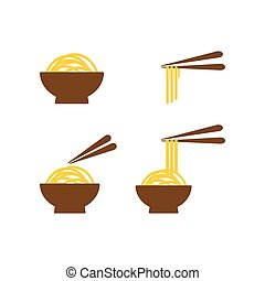 Collection of noodle on a bowl graphic template