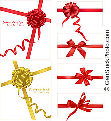 Collection of red bows with ribbons