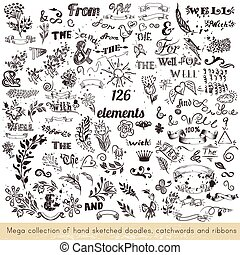 Collection of vector hand sketched doodles, catchwords and ribbons
