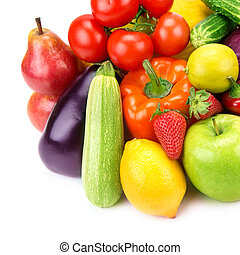 Collection of vegetables and fruits isolated on white background