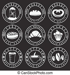 Collection of vintage retro bakery and coffee labels