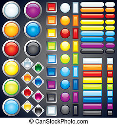 Large collection of shiny colorful bars, buttons, knobs, keys, Vector without transparencies, meshes