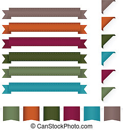 Collection Ribbons, Isolated On White Background, Vector Illustration