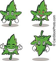 Collection set of marijuana character cartoon
