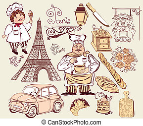 Collection symbols of Paris. Hand drawing