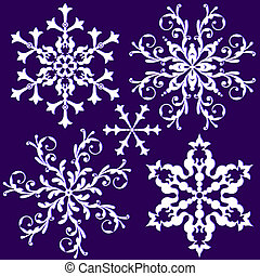 Collection isolated vintage white snowflakes on lilas background (vector)