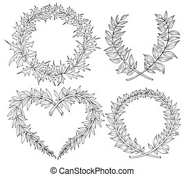 Collection with heart, wreaths, laurel, space for text. Hand drawn in vector format