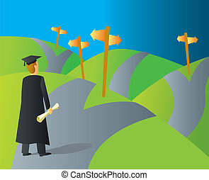 A college graduate stopping at a crossroads trying to decide where to go.