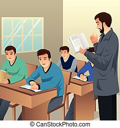 College Students in Classroom Illustration