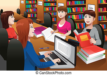 A vector illustration of college students studying in a library together
