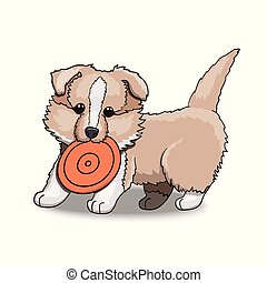 Collie Puppy With Frisbee. Cartoon Character Illustration