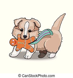 Collie Puppy With Gingerbread Man. Cartoon Character Illustration