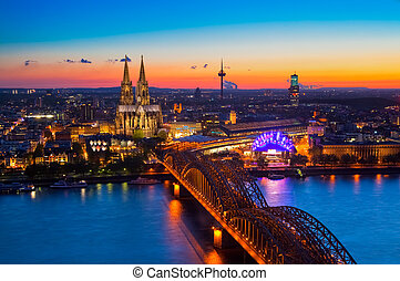 Panorama of Cologne (Koeln), Germany with the cathedral