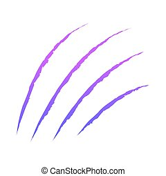 Color claws animal scratch scrape track. Cat tiger scratches paw shape. Four nails trace. Funny design element. Ragged edges. White background. Isolated. Vector illustration.