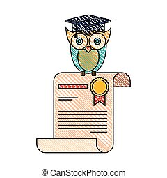 color crayon stripe image of owl knowledge in certificate