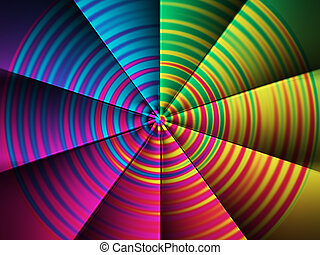 Computer generated abstract color fan.