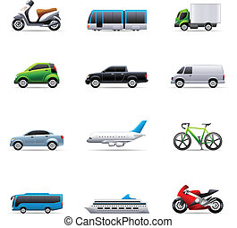 Transportation icon series in colors. EPS 10