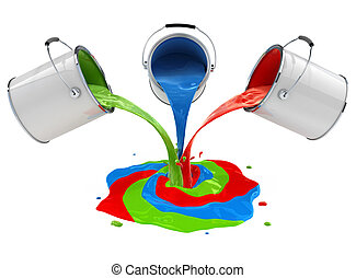 color paint pouring from buckets and mixing 3d-illustration, isolated on white background, with clipping path included
