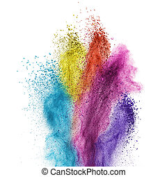 Color powder explosion isolated on white background