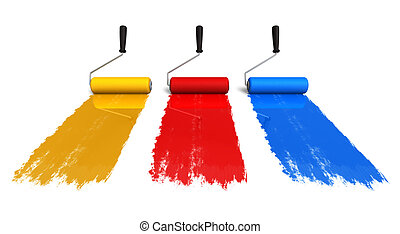 Set of three color roller brushes with trails of paint isolated on white background