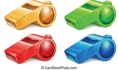 Color whistle isolated on white background vector illustration