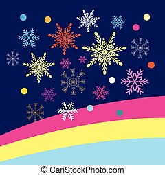 Colored Christmas vector snowflakes on a blue background