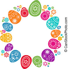 A set of colored Easter eggs - vector design