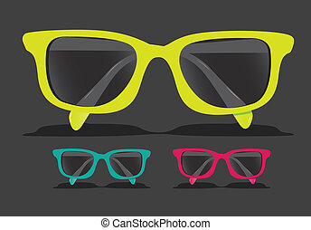 set of colored glasses, Vector Illustration