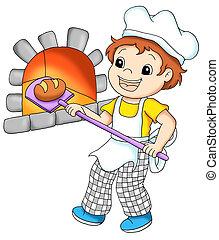 colored illustration of a baker