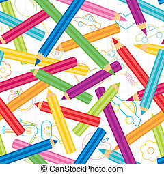 Childish shapes and colored pencils seamless pattern