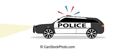 Colored Police car with Siren Flat Design. Vector Illustration.