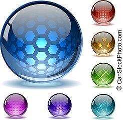 Glossy colorful abstract globes with different inner spherical patterns.