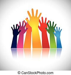 Colorful abstract hand vectors raised together showing unity. This graphic can also represent happy children playing, people at party, people asking help, employees protest and demonstration, etc