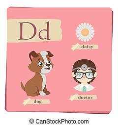 Colorful alphabet for kids - Letter D