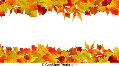 Colorful autumn border made from leaves, isolated on white background. EPS 8 vector file included