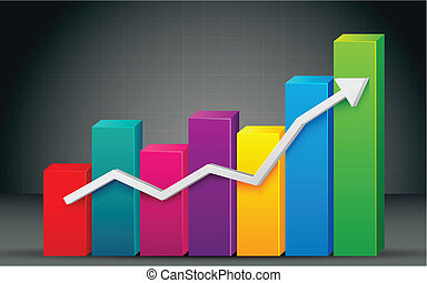 illustration of colorful bar graph with rising arrow