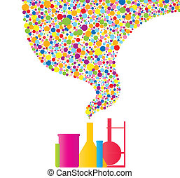 Set of various chemistry stuff with colorful outpourings.