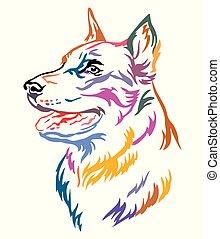 Colorful decorative portrait of Beauceron vector illustration