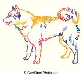 Colorful decorative portrait of Dog Finnish Spitz vector illustration