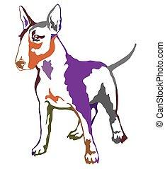 Colorful decorative standing portrait of dog Bull terrier, vector illustration