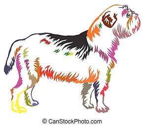 Colorful decorative standing portrait of dog Griffon Belge vector illustration
