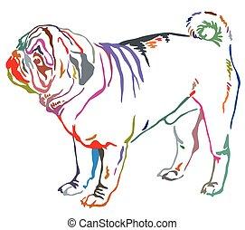 Colorful decorative standing portrait of dog pug vector illustration