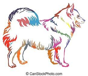 Colorful decorative standing portrait of dog Samoyed vector illustration