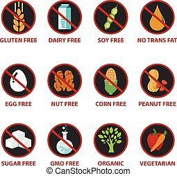 Colorful diet and warning label icons, food intolerance such as gluten free, sugar free, nut free, GMO free, egg free, dairy free. Isolated on white background.